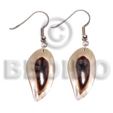 Dangling Hammer Shell Leaf 40 mm Natural Shell Earrings BFJ5067ER