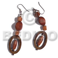 Dangling Kabibe Shell Wood Beads Oval 30 mm Gold Brown Wood Earrings BFJ5606ER