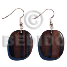 Dangling Kamagong Wood Ebony Tiger Square 35 mm Wood Earrings BFJ5346ER