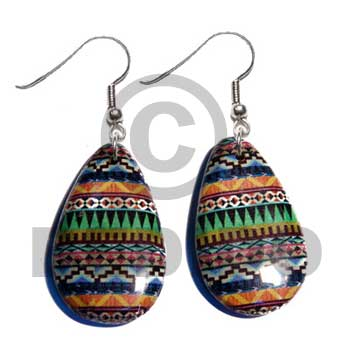 Dangling Laminated Printed White Wood Teardrop 38 mm Wood Earrings BFJ5747ER
