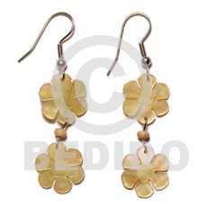 Dangling MOP Mother of Pearl Flower 15 mm Yellow Shell Earrings BFJ864ER