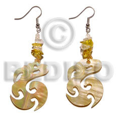 Dangling Mother of Pearl MOP Celtic 35 mm Yellow Shell Earrings BFJ5054ER