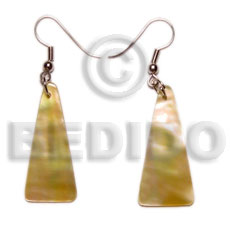 Dangling Mother of Pearl MOP Pyramid 30 mm Yellow Shell Earrings BFJ5049ER