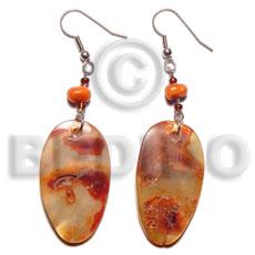 Dangling Oval Hammer Shell Glass Beads Orange Dyed Shell Earrings BFJ5025ER