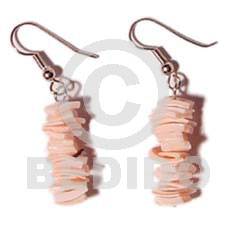 Dangling Pink Rose Shell Pink Shell Earrings BFJ068ER