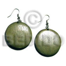 Dangling Round White Wood Dyed Green 32 mm Wood Earrings BFJ5570ER
