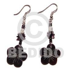 Dangling Scallop Black Tab Shell Black Trocha Shell Black Shell Earrings BFJ707ER