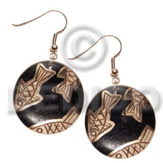 Dangling Wood Hand Painted Black Gold Fish Wood Earrings BFJ5538ER