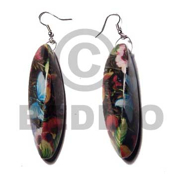 Dangling Wrapped Laminated Resin Printed Wood Earrings BFJ5761ER