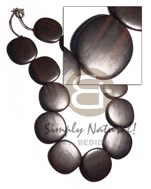 Ebony Tiger Kamagong Wood Disc 20 inches Waxed 36 x 5 mm Wooden Necklaces BFJ3175NK