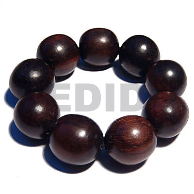 Ebony Tiger Round Kamagong Wood Elastic 7.5 inches 20 mm Wood Bracelets BFJ5303BR