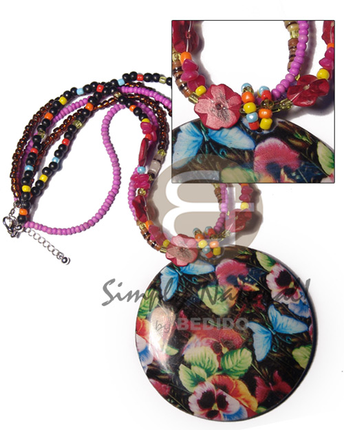 Glass Beads Wood Beads Multi Row Coconut Beads with Print Desgin Print Hammer Shell Wooden Necklaces BFJ3699NK