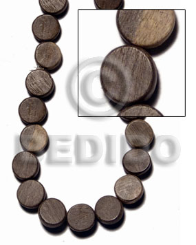 Graywood Gray Disc 10 mm 16 inches Side Drill Wood Beads - Flat Round and Oval Wood Beads BFJ409WB