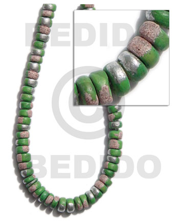 Green 16 inches Coconut 4-5 mm Pokalet Painted Coco Splashing Beads BFJ009SPL