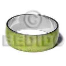 Green Capiz Shell Laminated Stainless Metal 1 inch 65 mm Bangles - Shell Bangles BFJ115BL