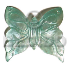Hammer Shell Aqua Blue Butterfly 50 mm Pendants - Shell Pendants BFJ5372P