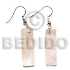 Hammer Shell Dangling 30 mm Bar Natural White Shell Earrings BFJ5015ER