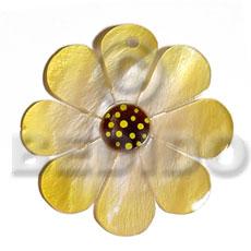 Hammer Shell Flower Gold 40 mm Pendants - Shell Pendants BFJ5594P