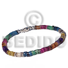 Hammer Shell Heishi 4-5 mm Rainbow Multi-Color Sea Shell Bracelets BFJ5373BR