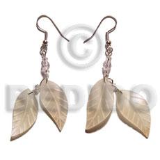 Hammer Shell Leaf 25 mm Dangling Natural Shell Earrings BFJ5092ER
