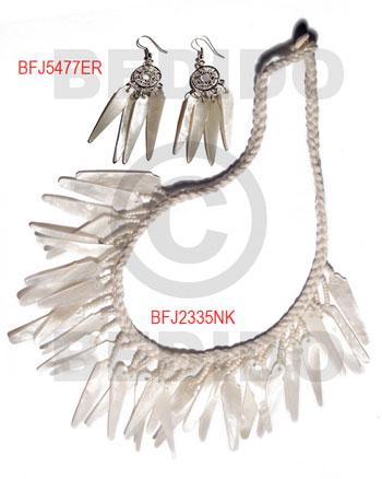 Hammer Shell Macrame thread White Set Jewelry Earrings Necklace Set Jewelry BFJ007SJ
