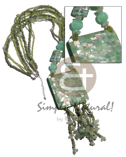 Hammer Shell Mint Green Glass Beads Multi Row Coconut Stones Shell Necklace BFJ2778NK