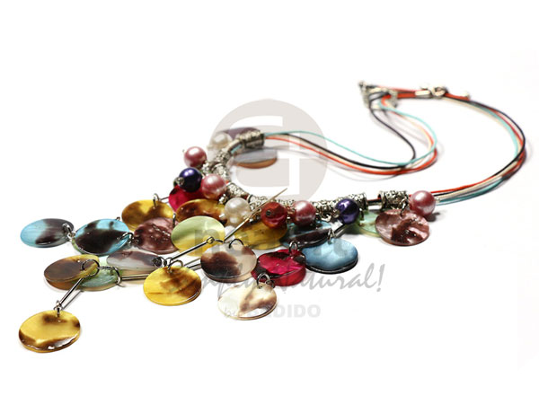 Hammer Shell Pearls Multi Row Wax Cord Shell Necklace BFJ2480NK14