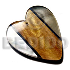 Heart 60 mm Kabibe Shell Resin Wood Laminated Pendants - Wooden Pendants BFJ6105P