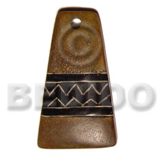 Horn Aztec Natural 45 mm Carvings Pendants - Bone Horn Pendants BFJ5198P