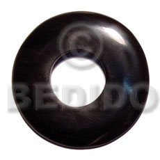 Horn Black Donut 60 mm Pendants - Bone Horn Pendants BFJ5612P