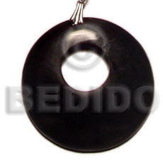 Horn Black Round 40 mm Pendants - Bone Horn Pendants BFJ5421P