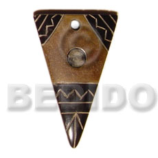 Horn Carvings Antique Natural Aztec 45 mm Pendants - Bone Horn Pendants BFJ5197P