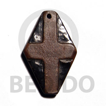 Horn Cross 45 mm Black Pendants - Bone Horn Pendants BFJ6419P