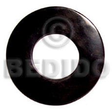 Horn Round Black 65 mm Pendants - Bone Horn Pendants BFJ5100P