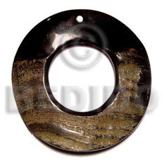 Horn Round Black 80 mm Pendants - Bone Horn Pendants BFJ5106P