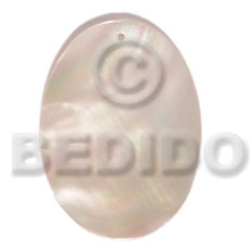 Kabibe Shell 40 mm Oval White Pendants - Simple Cuts BFJ6213P