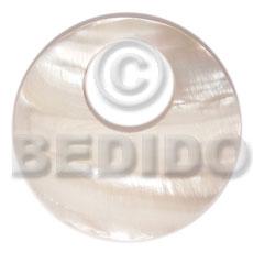 Kabibe Shell 40 mm Round White Pendants - Simple Cuts BFJ6227P