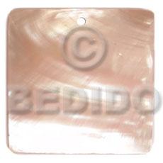 Kabibe Shell 40 mm Square White Pendants - Simple Cuts BFJ6248P