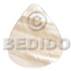 Kabibe Shell 40 mm Teardrop White Pendants - Simple Cuts BFJ6255P