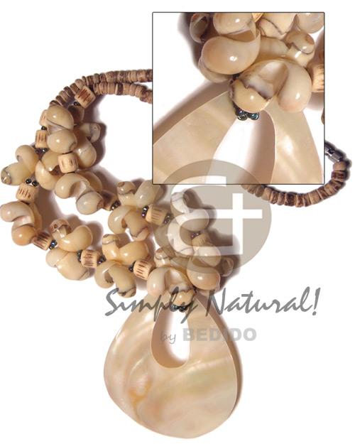 Kabibe Shell 65 mm White Shell Necklace BFJ3382NK