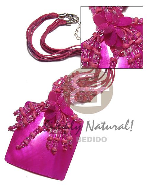 Kabibe Shell Fuschia Pink Glass Beads Multi Row Shell Necklace BFJ3534NK