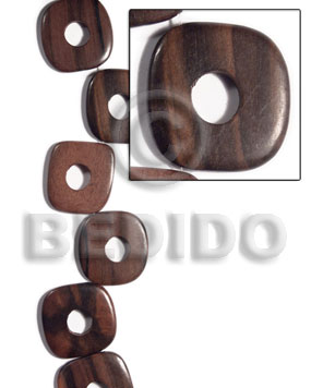Kamagong Wood Ebony Tiger Face to Face Round Edges Square 35 mm Hardwood Wood Beads - Flat Square Wood Beads BFJ479WB