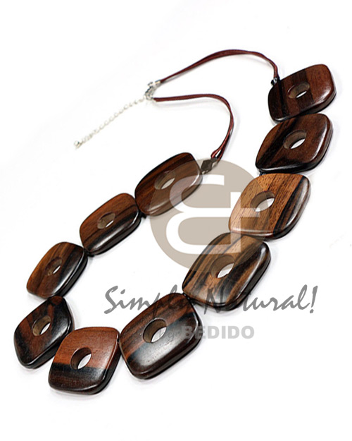 Kamagong Wood Ebony Tiger Hardwood Square Natural 24 inches Wooden Necklaces BFJ3798NK