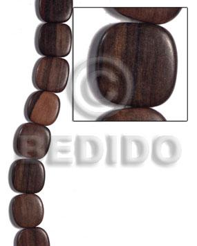 Kamagong Wood Hardwood Ebony Tiger Face to Face Flat Square 25 mm Wood Beads - Flat Square Wood Beads BFJ477WB