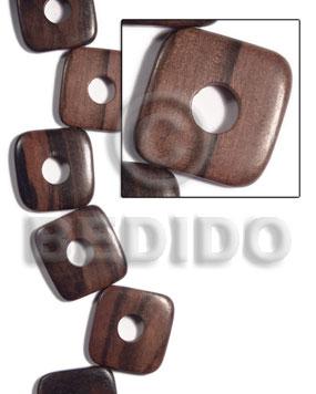Kamagong Wood Hardwood Ebony Tiger Square Round Edges 35 mm Wood Beads - Flat Square Wood Beads BFJ450WB