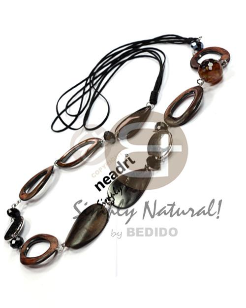 Kamagong Wood Hardwood Soutache Cords 36 inches Natural Ebony Tiger Wooden Necklaces BFJ3828NK