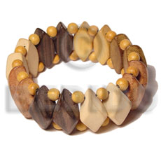 Kamagong Wood Nangka Wood White Wood Robles Wood Bayong Wood Elastic White Natural Combination Coated Yellow Bangles - Wooden Bangles BFJ017BL
