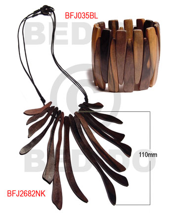 Kamagong Wood Tiger Hardwood Set Jewelry Necklace Bracelets Set Jewelry BFJ140SJ