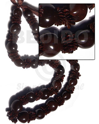 Kukui Nuts Ribbon Black Lumbang Seed Kukui Lei Necklace BFJ058LEI