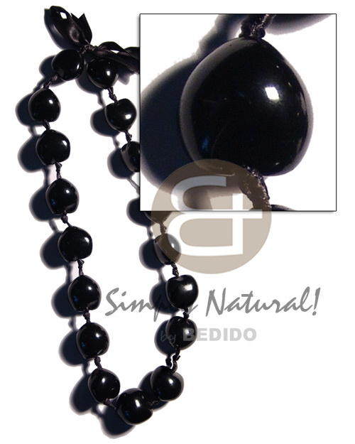 Kukui Nuts Ribbon Black Lumbang Seed Kukui Lei Necklace BFJ1815NK